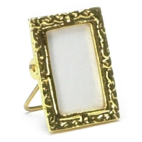 A dollhouse miniature standing gold frame.