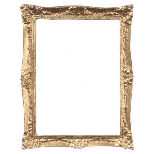 A dollhouse miniature gold picture frame.