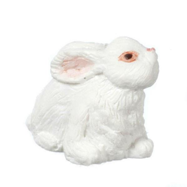 A miniature white rabbit.