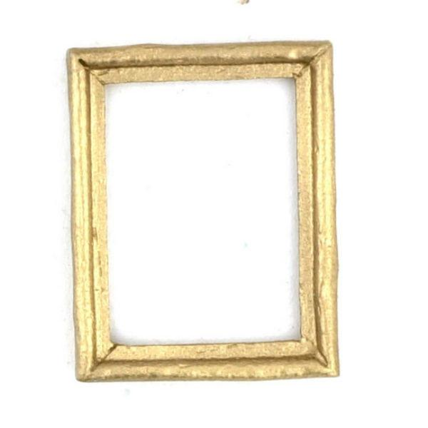 Set of four dollhouse miniature gold frames.