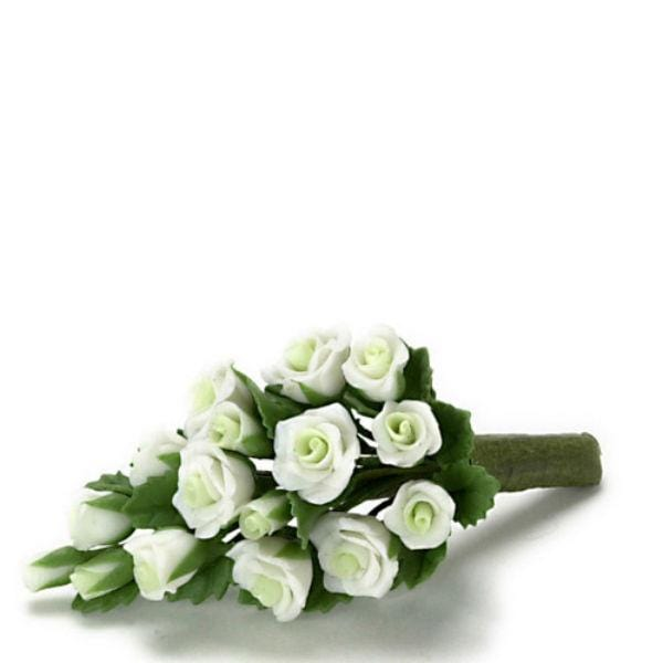 A dollhouse miniature white bouquet of flowers.