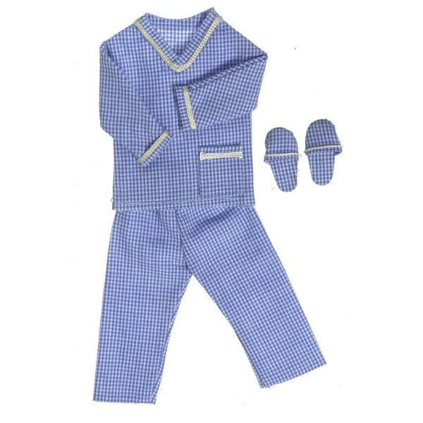 Blue men's doll clothing pajamas.