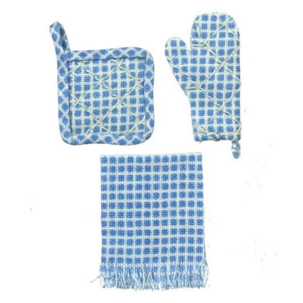 Two potholders and a dish towel for a dollhouse.