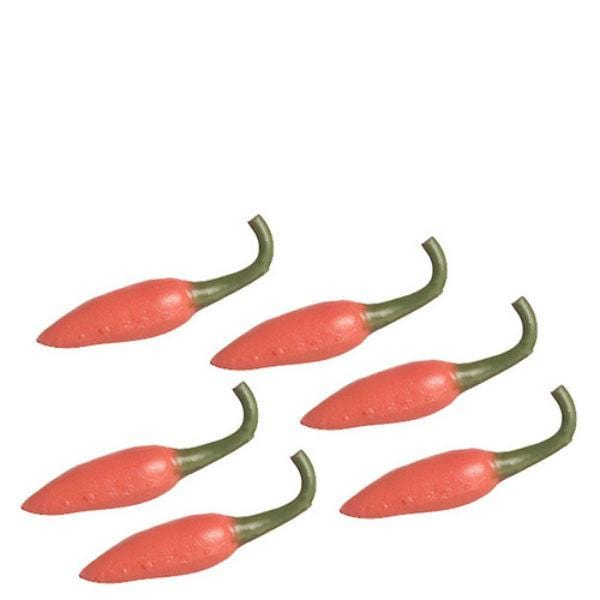 Six dollhouse miniature red chili peppers.