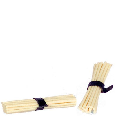 Two dollhouse miniature dry spaghetti bunches.