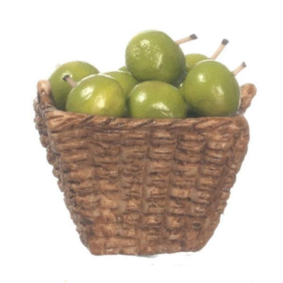 A basket of dollhouse miniature green apples.