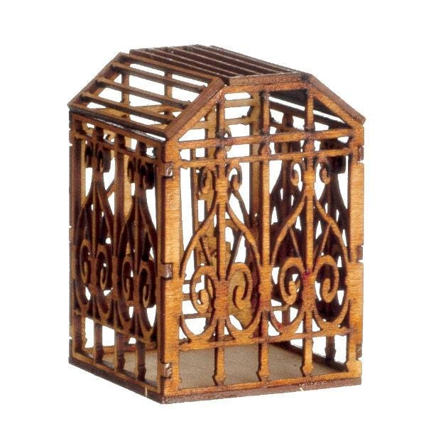 A wooden birdcage with bird in it.