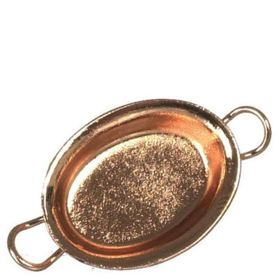 A dollhouse miniature copper oval gratin pan.