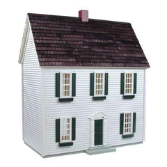 A half scale wood dollhouse kit in a colonial style.
