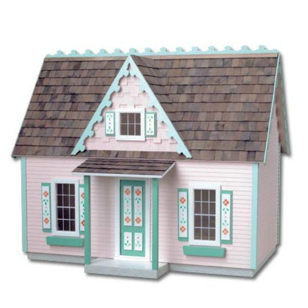 A wood doll house that resembles a Victorian cottage.