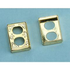 Dollhouse miniature brass wall outlets.