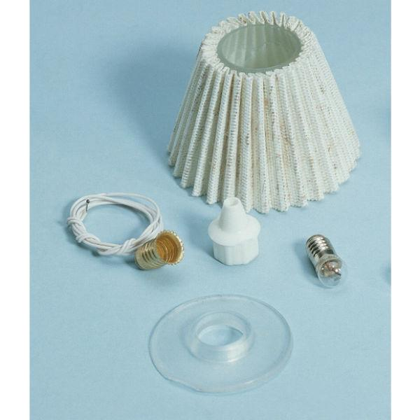 A dollhouse miniature pleated shade lamp kit.