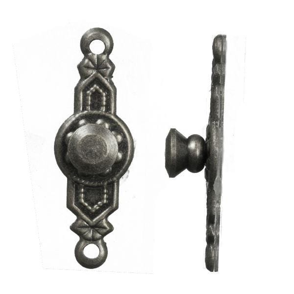 Two pewter dollhouse door knobs.