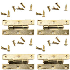 Four dollhouse miniature gold H-hinges with 24 nails.