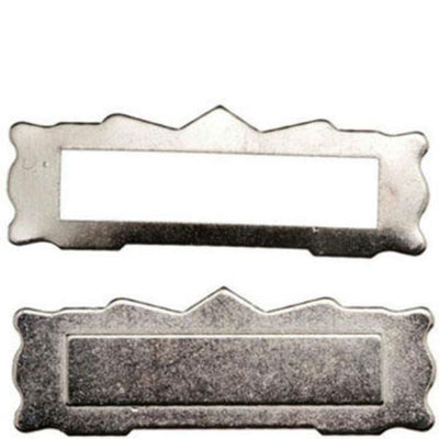 A satin nickel dollhouse miniature mail slot.