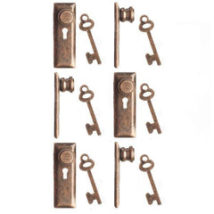 Six 1/24 miniature bronze keyplates/door knobs and keys.