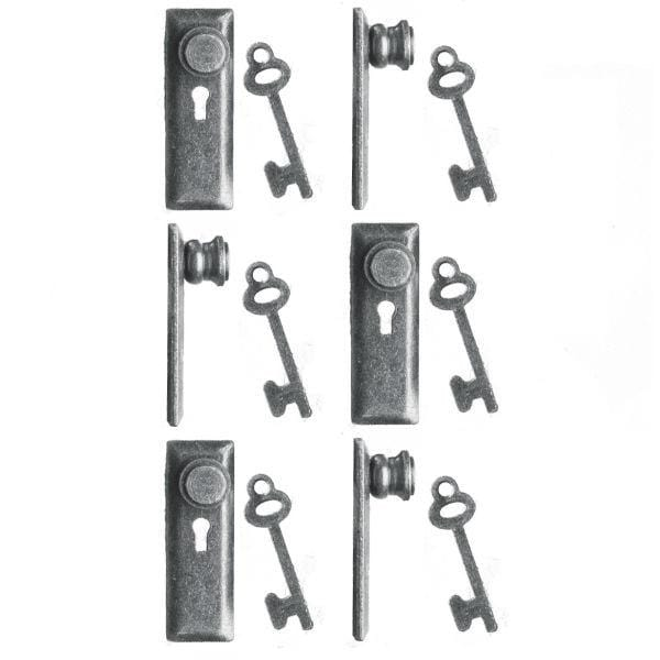 Dollhouse miniature 1/24 scale pewter keyplates/door knobs with keys.