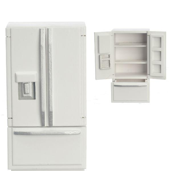 A dollhouse furniture contemporary white French door refrigerator.
