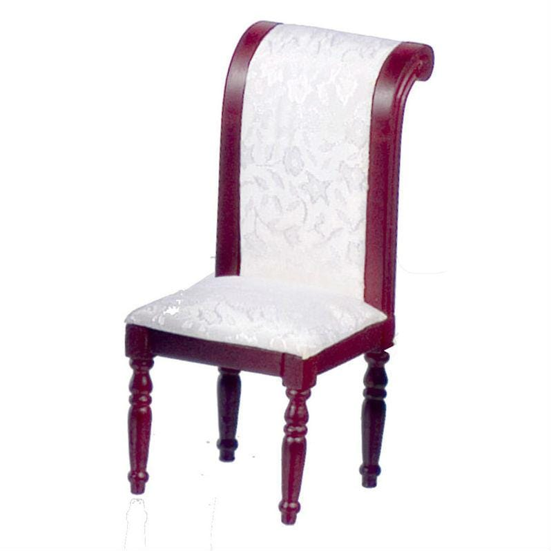 A dollhouse furniture side chair with white fabric.