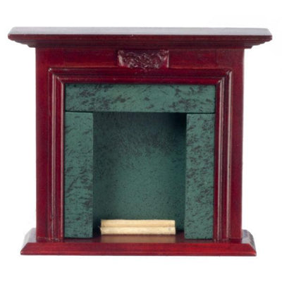 Mahogany & Green Marble Dollhouse Miniature Fireplace - Little Shop of Miniatures
