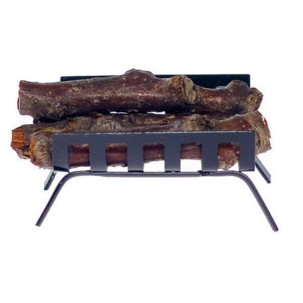 A dollhouse miniature log holder with logs.
