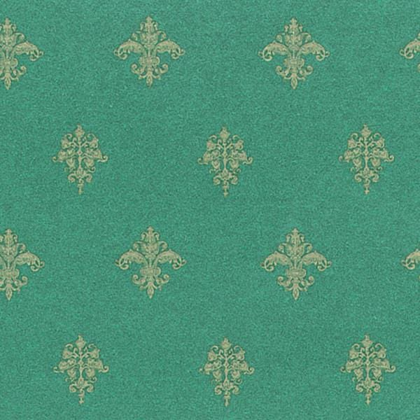 Decorative green dollhouse wallpaper.