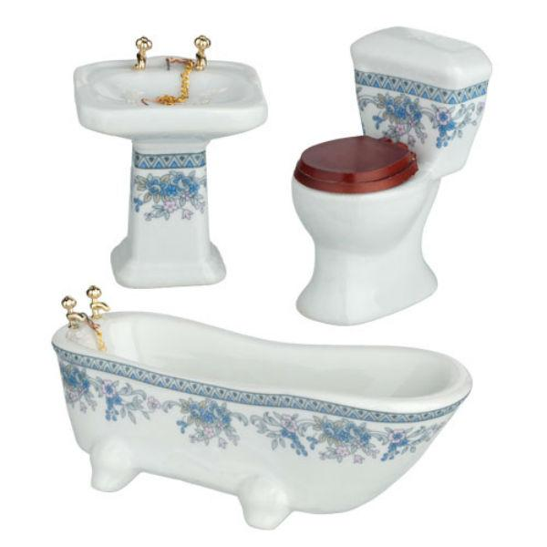 Dollhouse furniture bathroom set.