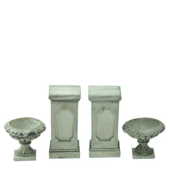 Dollhouse miniature pedestals and urns
