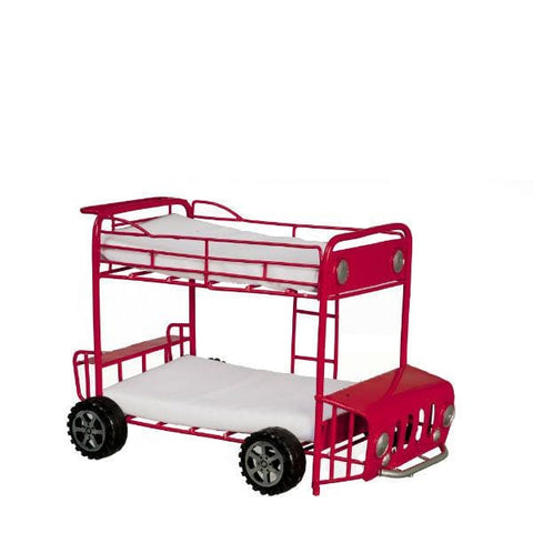 A dollhouse furniture red metal kids' bunk bed that looks like a fire truck.