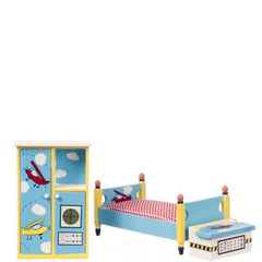 A three-piece dollhouse furniture children's bedroom set with hand-painted designs.