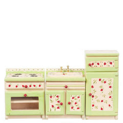 A three-piece hand-painted dollhouse furniture kitchen set with strawberry designs.