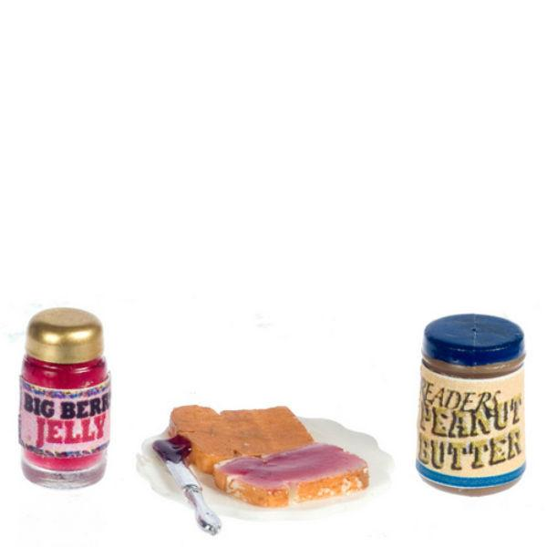 A dollhouse miniature peanut butter and jelly fixings.