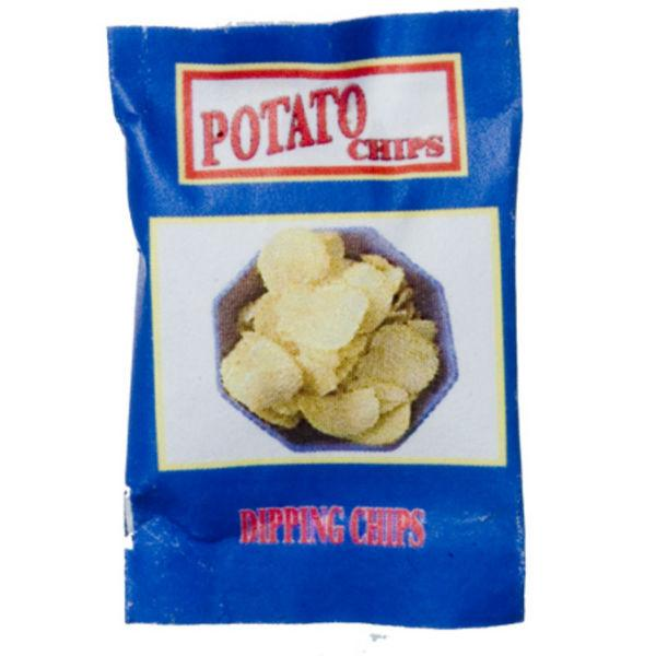 A dollhouse miniature bag of potato chips.