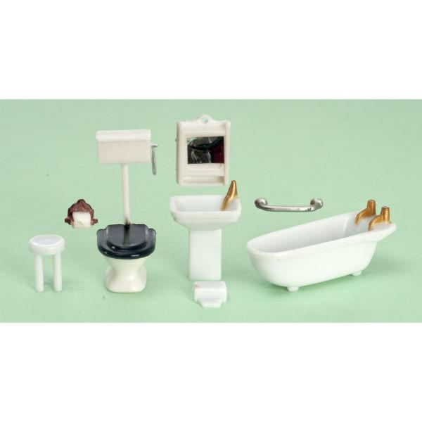 A 1/48 scale dollhouse furniture bathroom set.