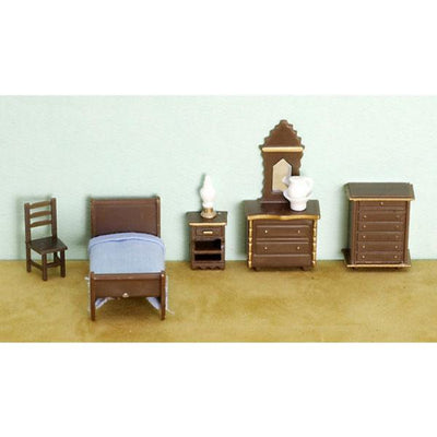 A 1/48 scale dollhouse furniture bedroom set.