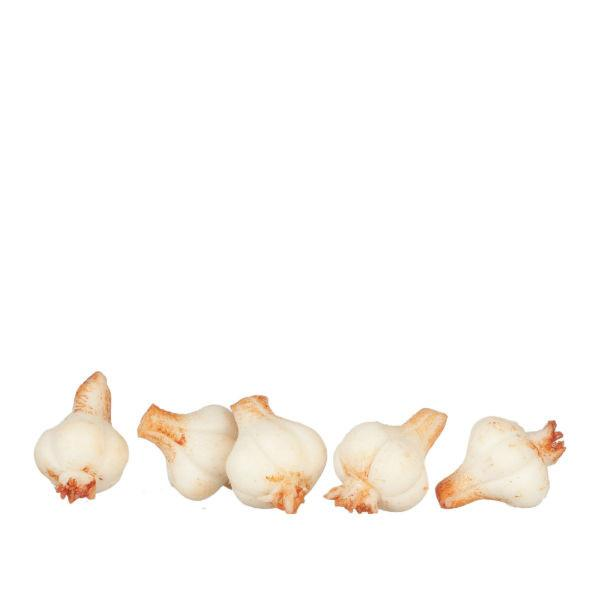 Five bulbs of dollhouse miniature garlic.