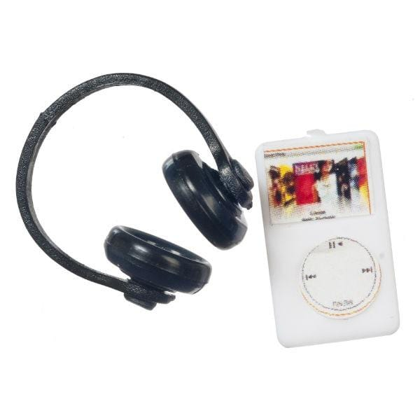 A dollhouse miniature iPod with black headphones.