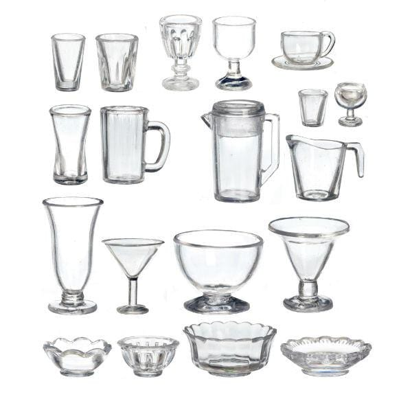 A 21-piece plastic kitchen set with bowls, cups, and pitchers.