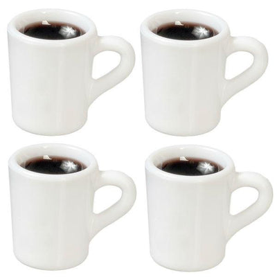 Four dollhouse miniature coffee mugs filled with coffee.