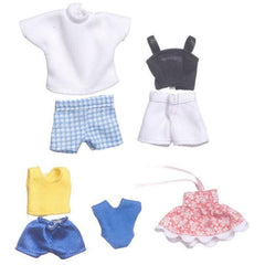 A set of summer clothes for a dollhouse doll family.