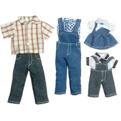 Doll clothing that includes denim for a family of four.