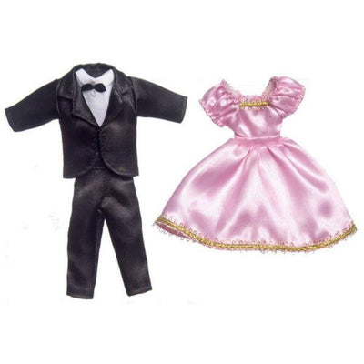 Doll clothing that includes a tux and pink dress.