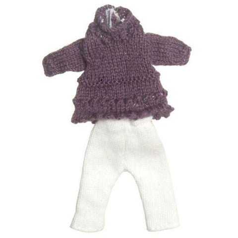 A purple sweater and white pants doll clothing set for a teenage girl.
