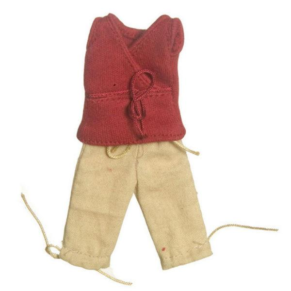 A red V-neck and khaki capris dollhouse clothing for women.