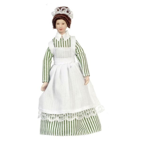 A porcelain dollhouse doll who is a Victorian maid.