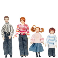 A porcelain dollhouse doll family with modern mom, dad, and two kids in denim.