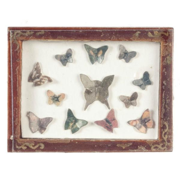 A dollhouse miniature shadow box full of butterflies.