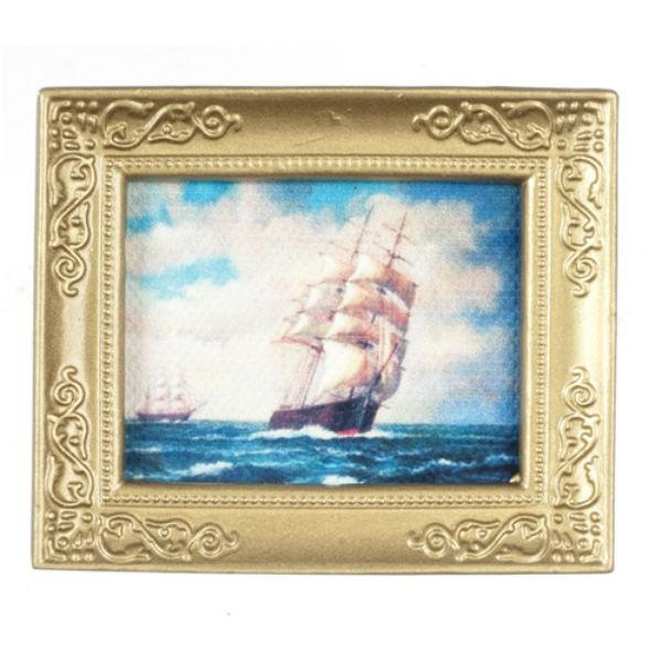 A dollhouse miniature painting of tall ships.