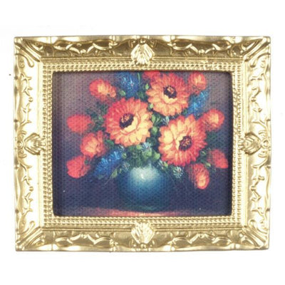 A dollhouse miniature framed floral painting.