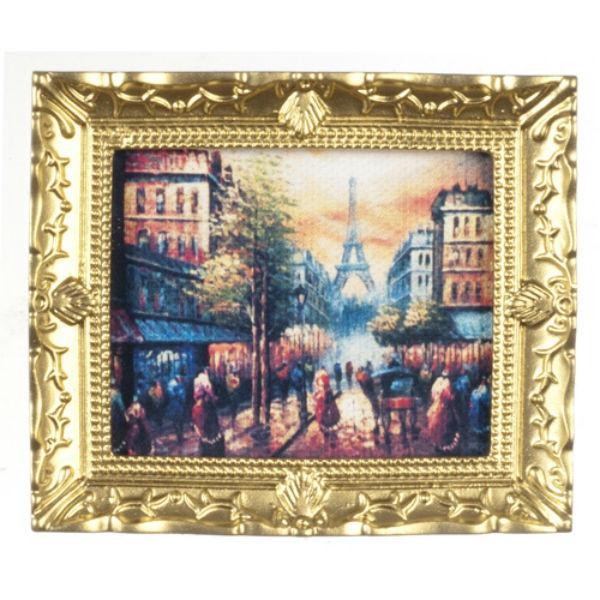 A dollhouse miniature painting of a Paris cityscape.